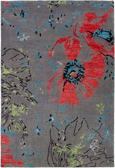 Casual  Contemporary Grey Area rug 5x8 Indian Hand-knotted 271764