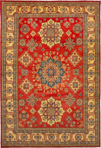 Bordered  Traditional Red Area rug 10x14 Afghan Hand-knotted 272505