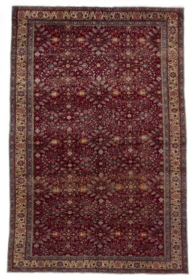 Bordered  Vintage Red Area rug 5x8 Turkish Hand-knotted 279846
