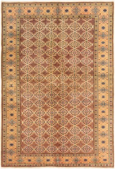 Bordered  Floral Ivory Area rug 5x8 Turkish Hand-knotted 280997