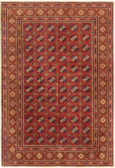 Bordered  Tribal Brown Area rug 5x8 Turkish Hand-knotted 281025