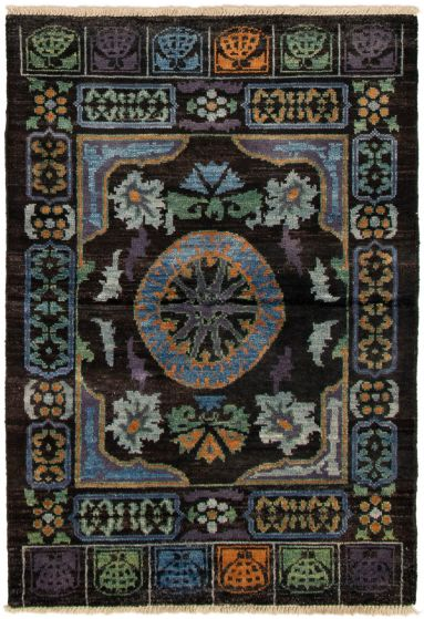 Bordered  Transitional Black Area rug 3x5 Indian Hand-knotted 292823