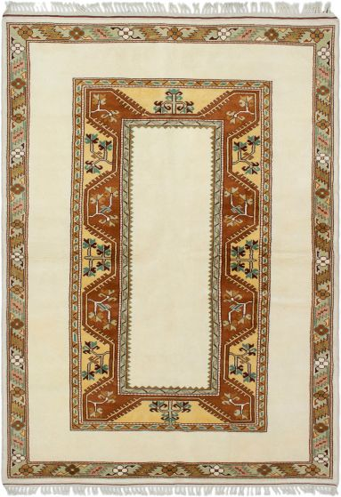 Bordered  Traditional Ivory Area rug 5x8 Turkish Hand-knotted 293287