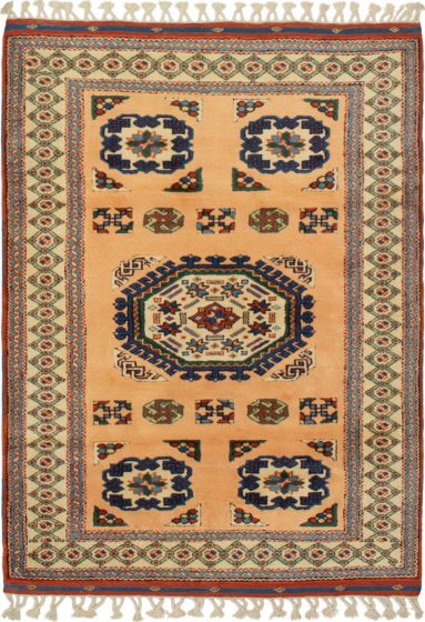 Bordered  Traditional Brown Area rug 3x5 Turkish Hand-knotted 293789