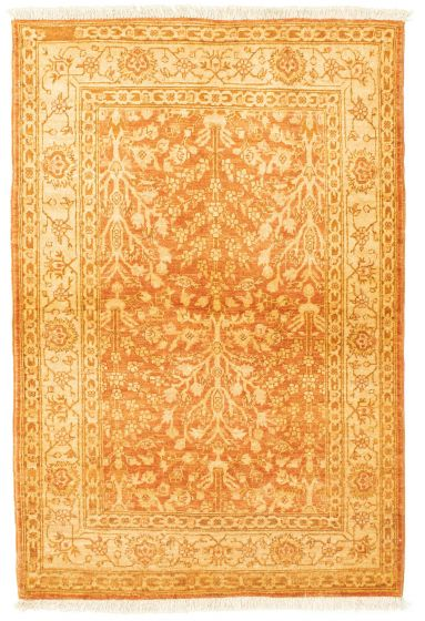 Bordered  Traditional Brown Area rug 3x5 Afghan Hand-knotted 331282
