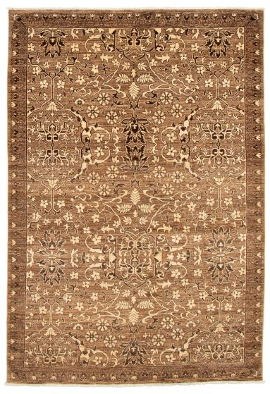 Bordered  Transitional Brown Area rug 5x8 Pakistani Hand-knotted 339045