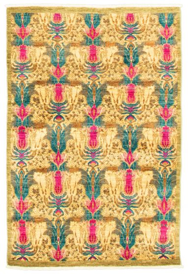 Transitional Green Area rug 3x5 Pakistani Hand-knotted 342107
