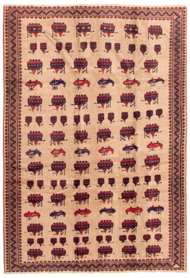Bordered  Tribal Brown Area rug 6x9 Afghan Hand-knotted 342414
