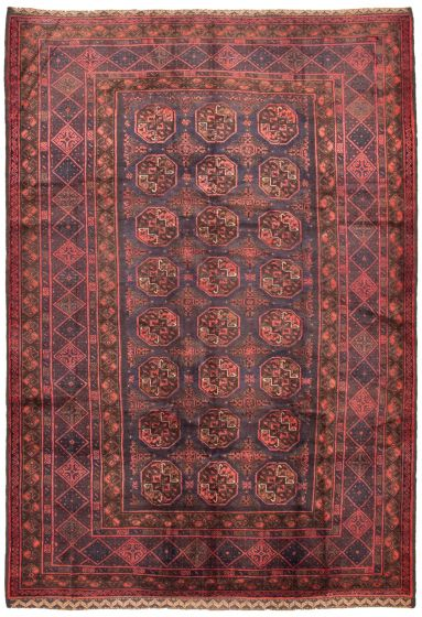 Bordered  Tribal Blue Area rug 6x9 Afghan Hand-knotted 342466