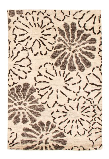 Floral  Transitional Ivory Area rug 3x5 Indian Hand-knotted 349529