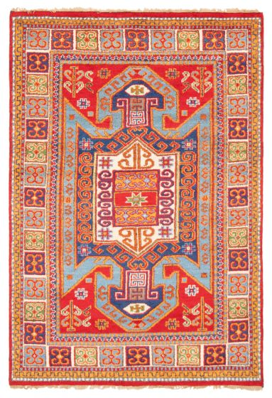 Bordered  Traditional Red Area rug 5x8 Indian Hand-knotted 364334