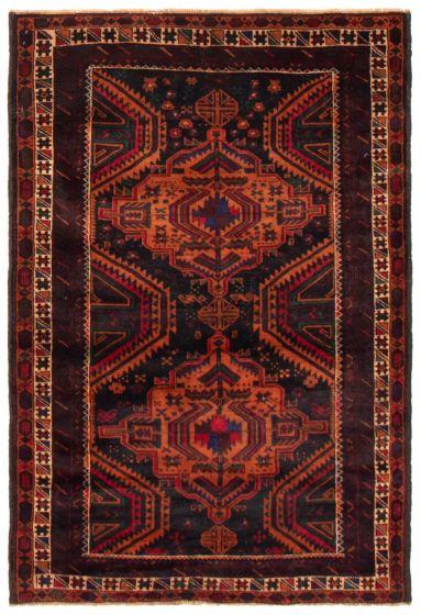 Geometric  Tribal Blue Area rug 3x5 Afghan Hand-knotted 367539
