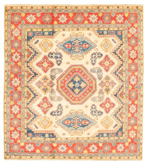 Bordered  Traditional Ivory Area rug Square Afghan Hand-knotted 348283
