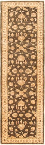 Bordered  Traditional Brown Runner rug 10-ft-runner Pakistani Hand-knotted 293033