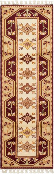 Bordered  Traditional Red Runner rug 8-ft-runner Turkish Hand-knotted 293680