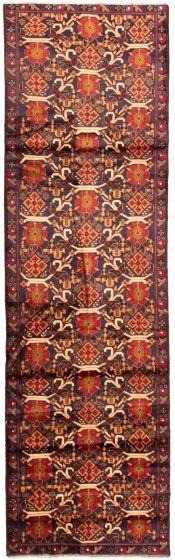 Bordered  Tribal Blue Runner rug 10-ft-runner Afghan Hand-knotted 342374
