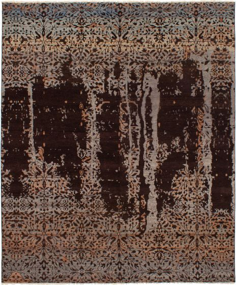 Casual  Contemporary Brown Area rug 6x9 Indian Hand-knotted 271832