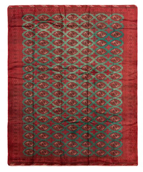 Bordered  Tribal Green Area rug 9x12 Russia Hand-knotted 328312