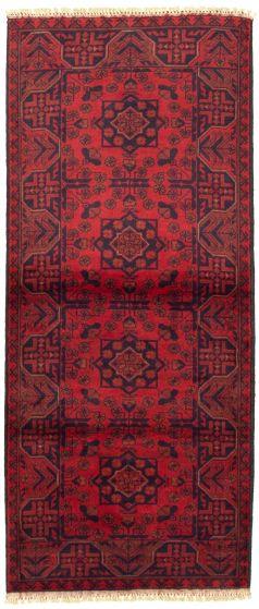 Bordered  Tribal Red Runner rug 6-ft-runner Afghan Hand-knotted 330311