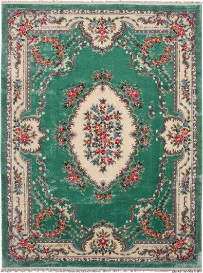 Bordered  Traditional Blue Area rug 9x12 Chinese Hand-knotted 265948