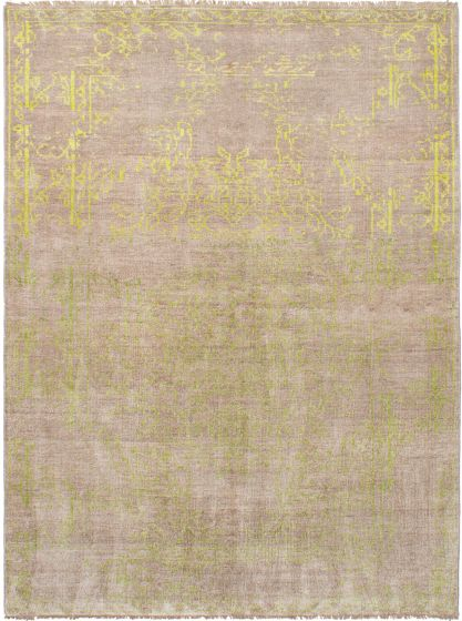 Bordered  Transitional Brown Area rug 6x9 Indian Hand-knotted 271678