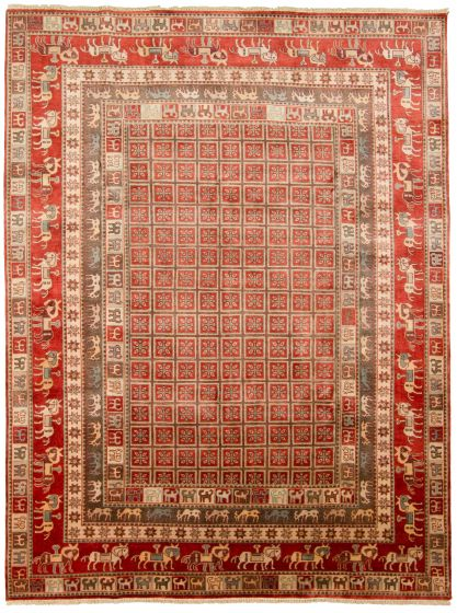 Tribal Red Area rug 9x12 Indian Hand-knotted 313344