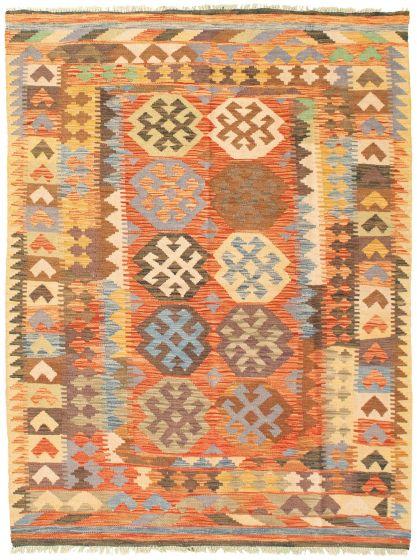 Bordered  Geometric Brown Area rug 4x6 Turkish Flat-weave 330041