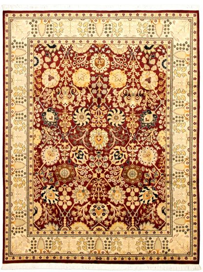 Bordered  Traditional Red Area rug 6x9 Pakistani Hand-knotted 330564