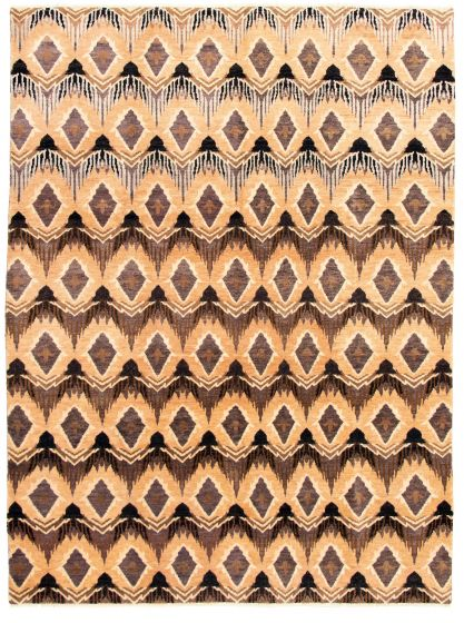 Casual  Transitional Brown Area rug 9x12 Indian Hand-knotted 331276