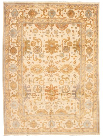 Bordered  Traditional Ivory Area rug 9x12 Indian Hand-knotted 331303
