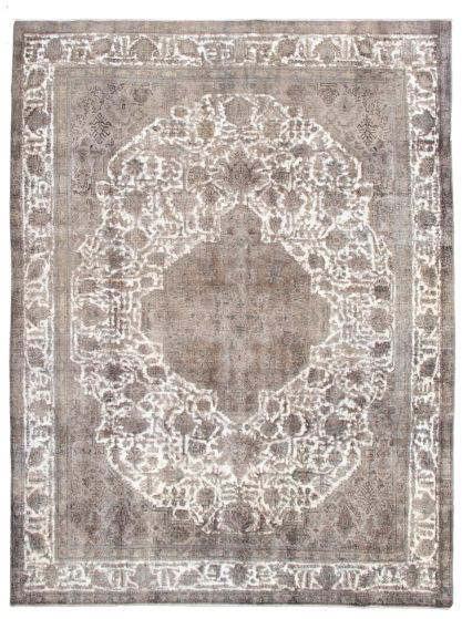 Bordered  Traditional Ivory Area rug 9x12 Turkish Hand-knotted 342132