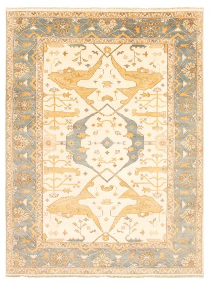 Bordered  Traditional Ivory Area rug 9x12 Indian Hand-knotted 344845