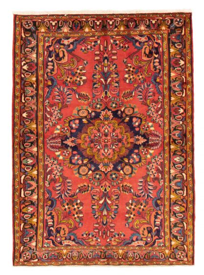 Bordered  Traditional Red Area rug 4x6 Persian Hand-knotted 358672