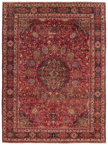 Bordered  Vintage Red Area rug 9x12 Persian Hand-knotted 367160