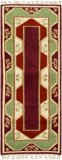 Bordered  Traditional Red Runner rug 7-ft-runner Turkish Hand-knotted 293695