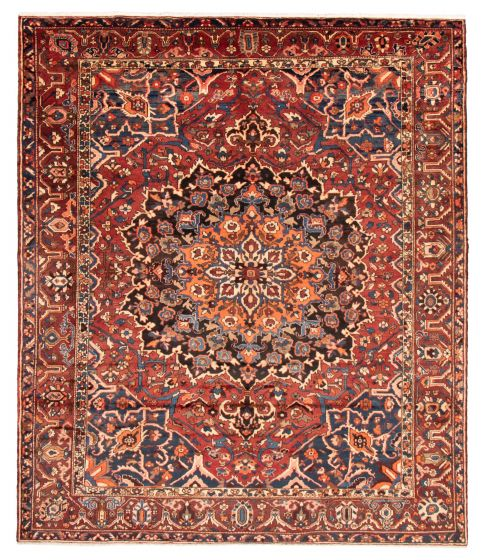Bordered  Traditional Red Area rug 9x12 Persian Hand-knotted 366582