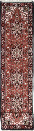 Geometric  Traditional Red Runner rug 20-ft-runner Indian Hand-knotted 219402