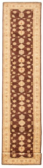 Bordered  Traditional Brown Runner rug 13-ft-runner Afghan Hand-knotted 331475
