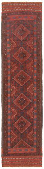 Bordered  Tribal Red Runner rug 8-ft-runner Afghan Hand-knotted 342514