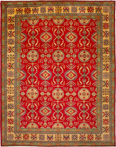 Bordered  Traditional Red Area rug 9x12 Afghan Hand-knotted 272383