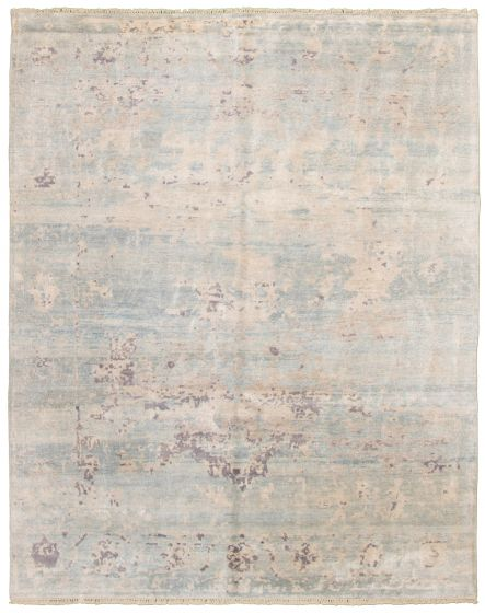 Casual  Contemporary Blue Area rug 6x9 Indian Hand-knotted 331905