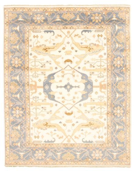 Bordered  Traditional Ivory Area rug 6x9 Indian Hand-knotted 344878