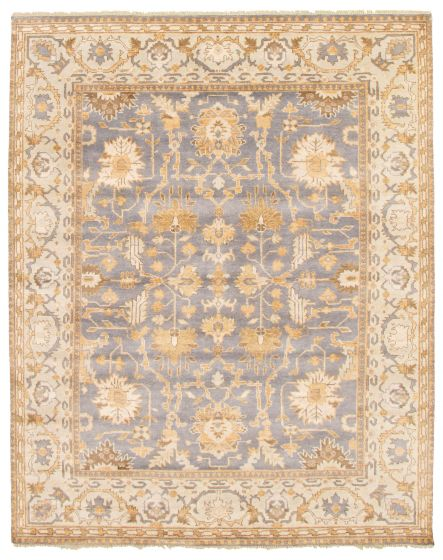 Bordered  Traditional Blue Area rug 6x9 Indian Hand-knotted 344943