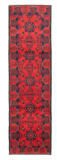 Bordered  Traditional Red Runner rug 10-ft-runner Afghan Hand-knotted 342310