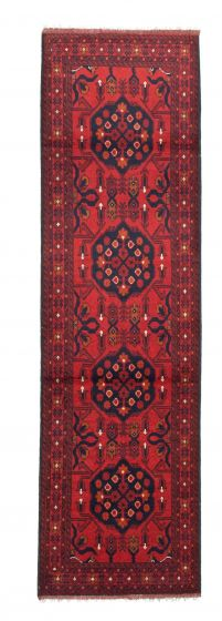 Bordered  Traditional Red Runner rug 10-ft-runner Afghan Hand-knotted 342326