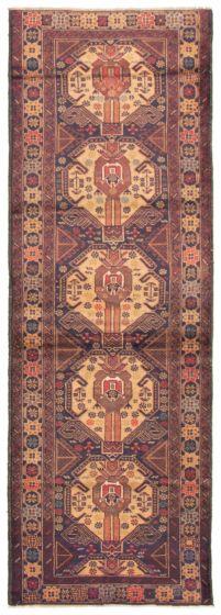 Bordered  Tribal Brown Runner rug 9-ft-runner Afghan Hand-knotted 342423