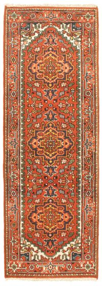 Bordered  Traditional Red Runner rug 8-ft-runner Indian Hand-knotted 344603