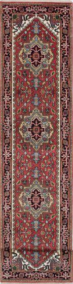 Floral  Traditional Orange Runner rug 16-ft-runner Indian Hand-knotted 208456