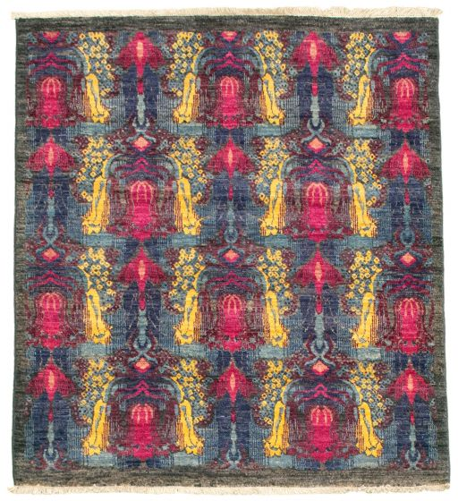 Traditional  Transitional Grey Area rug Square Pakistani Hand-knotted 342142