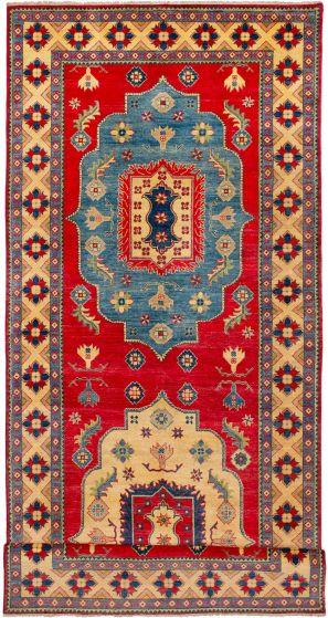 Bordered  Geometric Red Runner rug 18-ft-runner Afghan Hand-knotted 272640